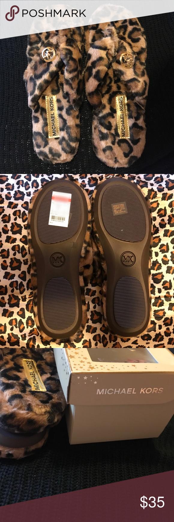 28c3618a035c Michael Kors house shoes Michael Kors leopard faux fur Jet set MK thong  house shoe size 9M. Brand new with tags. Michael Kors Shoes Slippers