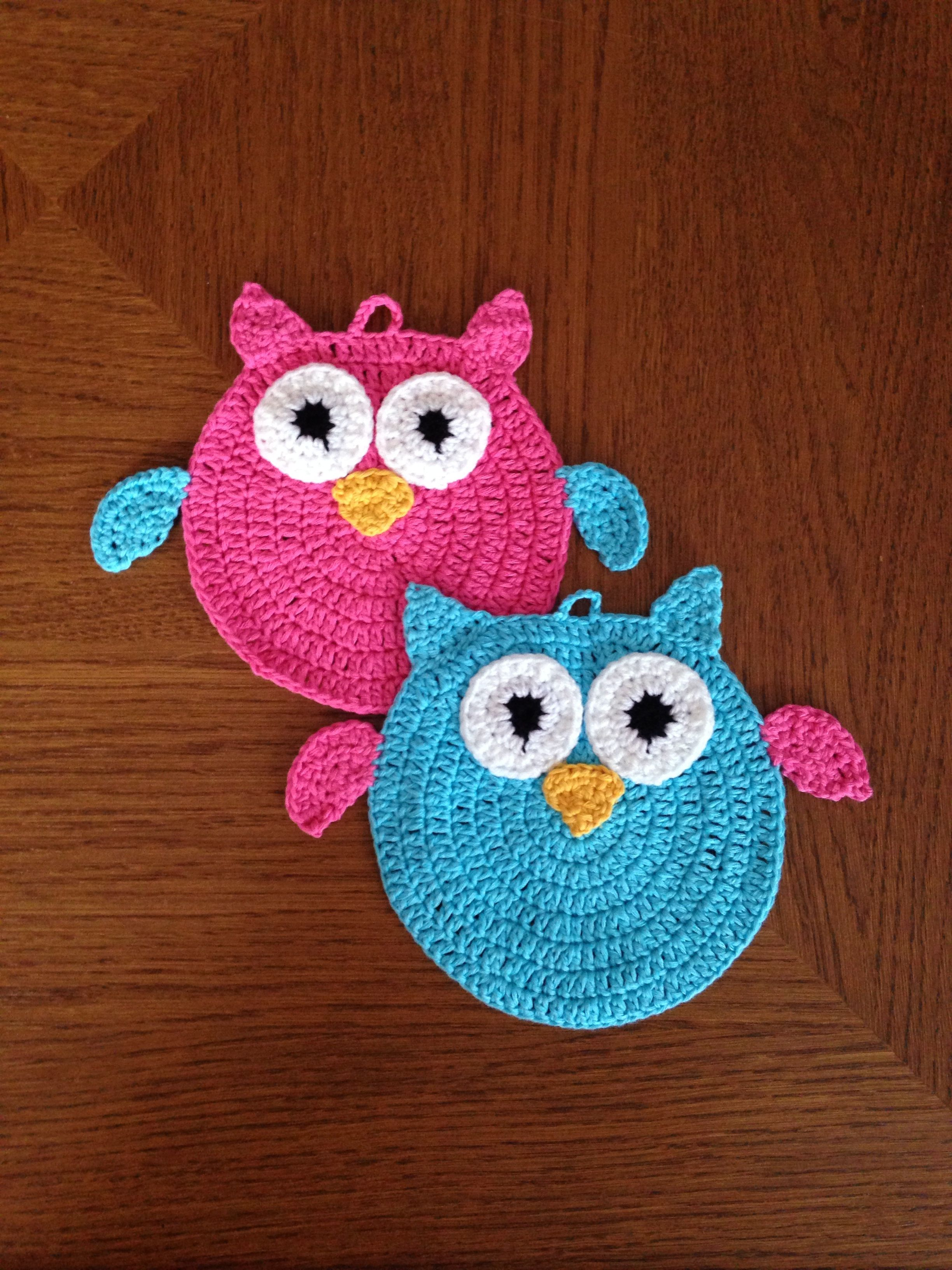 Crochet Owl Oven Cloth | Crochet potholders, coasters and ...