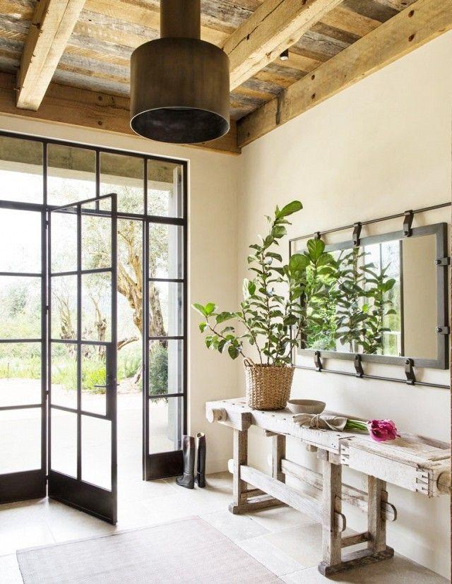 rustic foyer entry with steel frame front door design doors