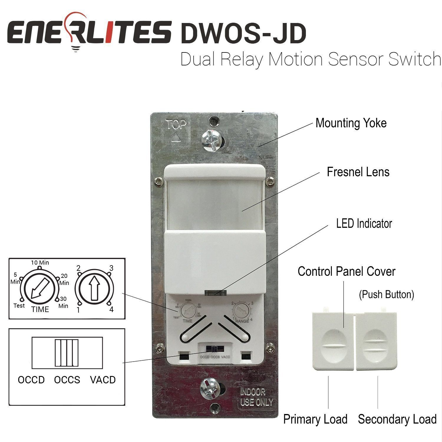 Enerlites Dwos Jd Occupancy Vacancy Dual Relay Motion Sensor Switch Bi Level