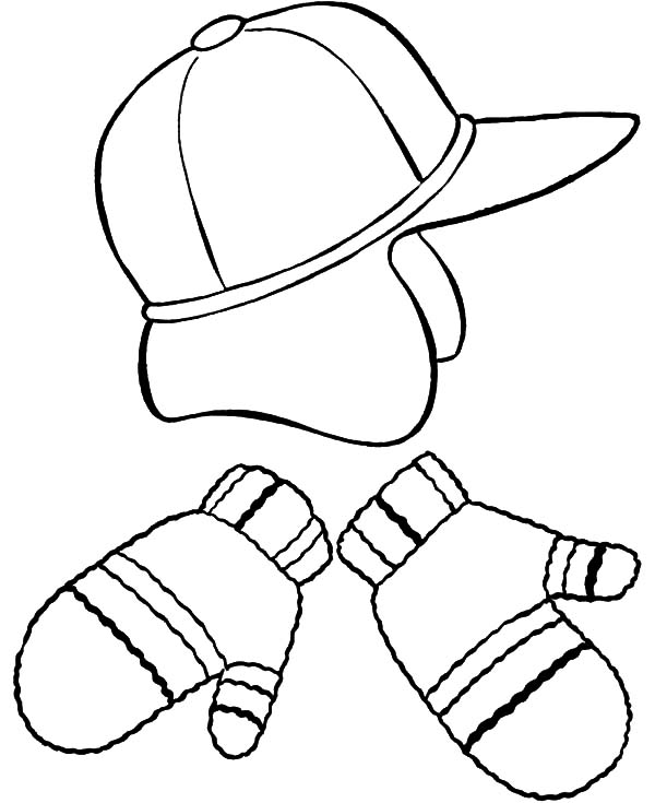 Hat And Mittens Coloring Pages Color Luna Di 2020