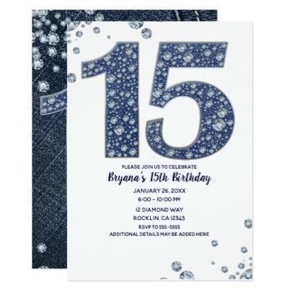 Denim Diamonds Bling Sparkle 15th 15 Birthday Invitation