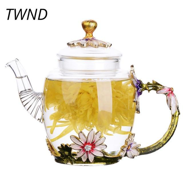 Enamel Glass Teapot Tea Pots Glass Teapot Tea