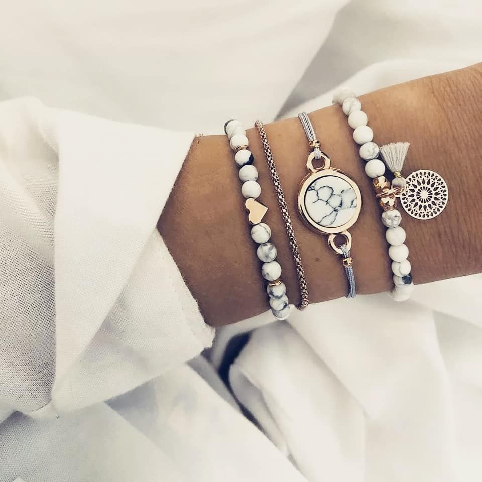 4Pcs//Set Trendy Marble Beads Tassel Handmade Charme Bohême Bracelet Kit Bijoux