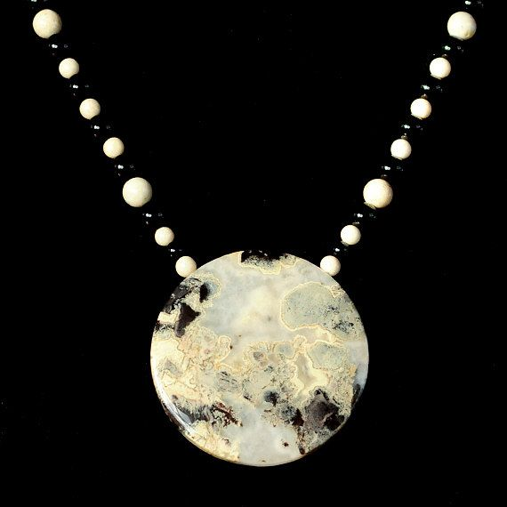 Jasper Moon Onyx & Riverstone Pendant Necklace by MutableMotion, $65.00