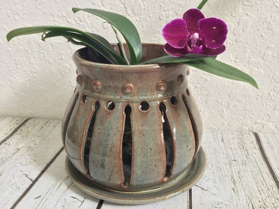 Handcrafted Ceramic Orchid Pot Orchid Planter By Queenbeepottery Clay Orchid Pots Orchid Pot Ceramic Flower Pots