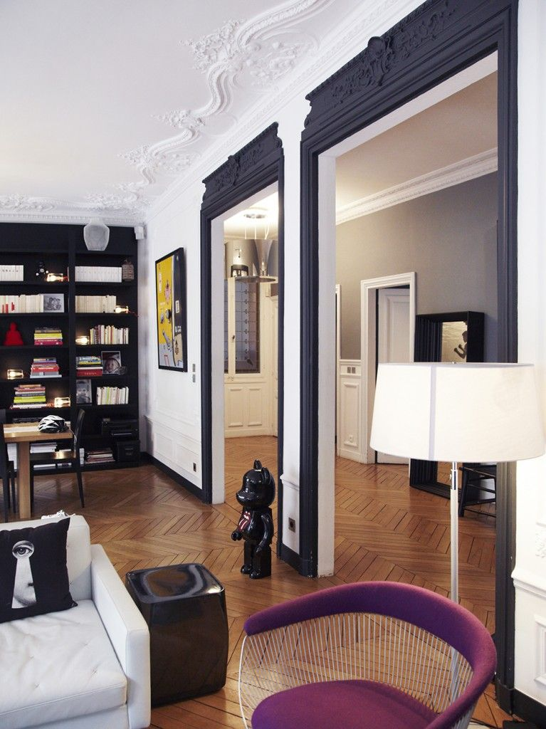 un int rieur parisien so chic style contemporain haussmannien et contemporain. Black Bedroom Furniture Sets. Home Design Ideas