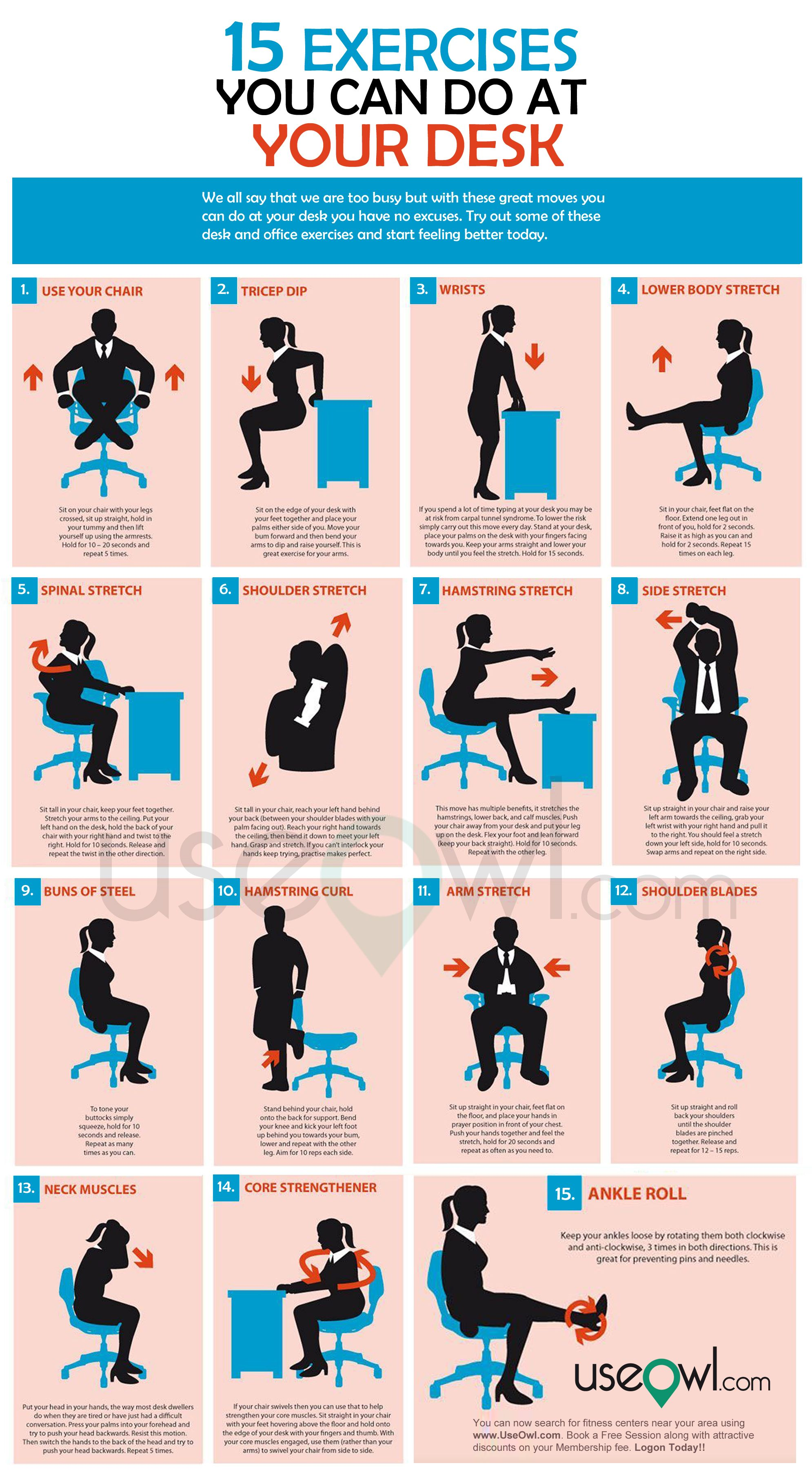 15 Exercises You Can Do At Desk In Office Exercise Office