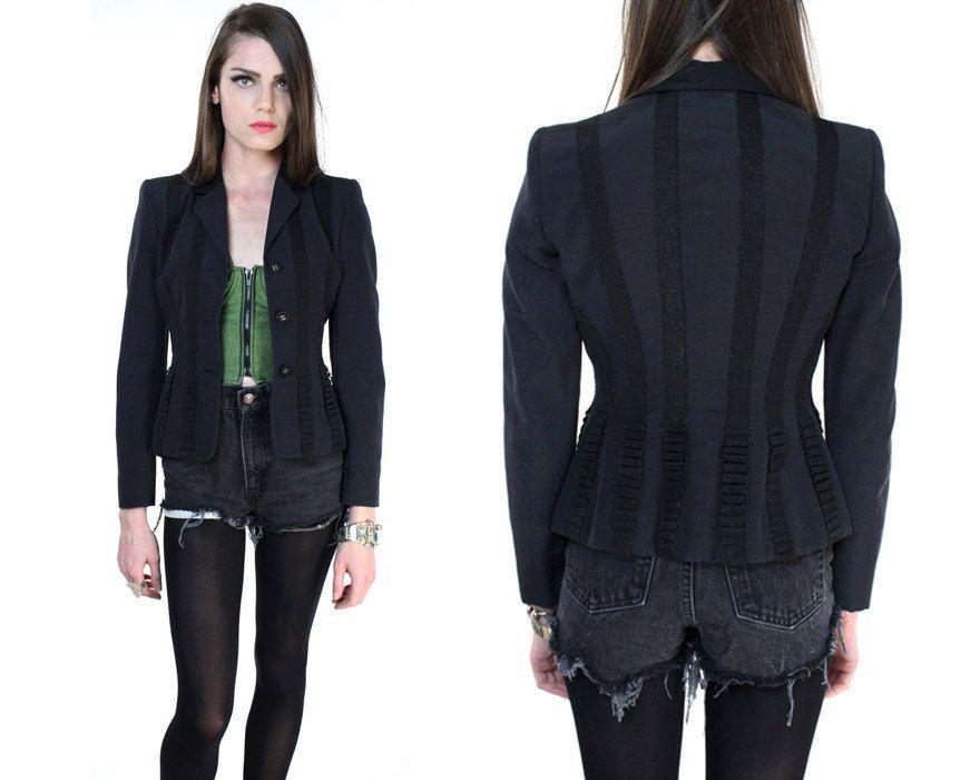 Vintage 90s black fitted blazer by Moschino. $254.00, via Etsy.