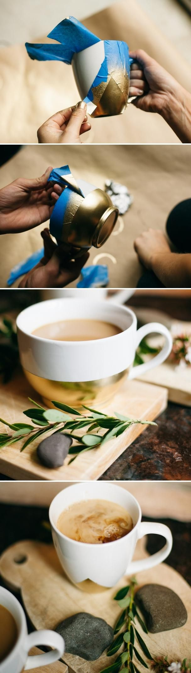 Make plain, old white teacups or mugs elegant and new again with this simple guide. It offers an inexpensive way to give home accessories or tools a modern gold twist using painter's tape, gold spray paint and clear sealer.