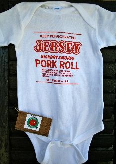 52157d6bf Adorable Pork Roll baby Onesie from The Jersey Tomatoes Ladies ...