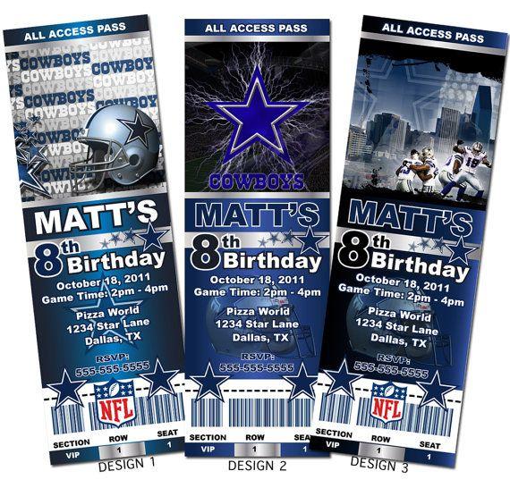 Dallas Cowboys NFL Custom Party Ticket Invitations on Etsy 899 – Dallas Cowboys Party Invitations