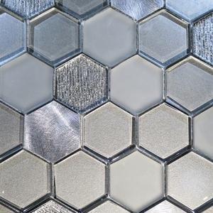 Mosaic Tiles Sheet Habitat Hexagon Silver 30cm X 30cm ...