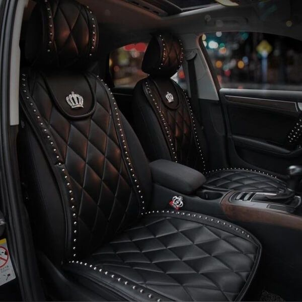 Luxury High Grade Charming Diamond Grid Style Durable Genuine Leather Universal 1 Piece Front Car Seat Cover Nel 2020