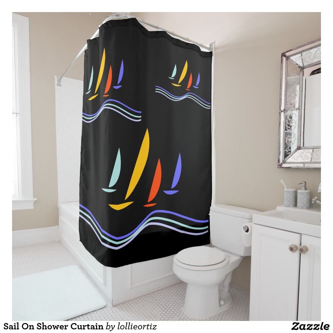 Sail On Shower Curtain Zazzle Com Shower Curtain Curtains Shower