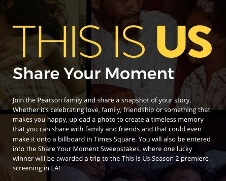 Trip for Winner and one guest to Los Angeles, CA, two tickets to the This Is Us Premiere Screening and Cast Q&A scheduled to take place on September 26, 2017 worth $3,100.00.    You may enter once during the sweepstakes.