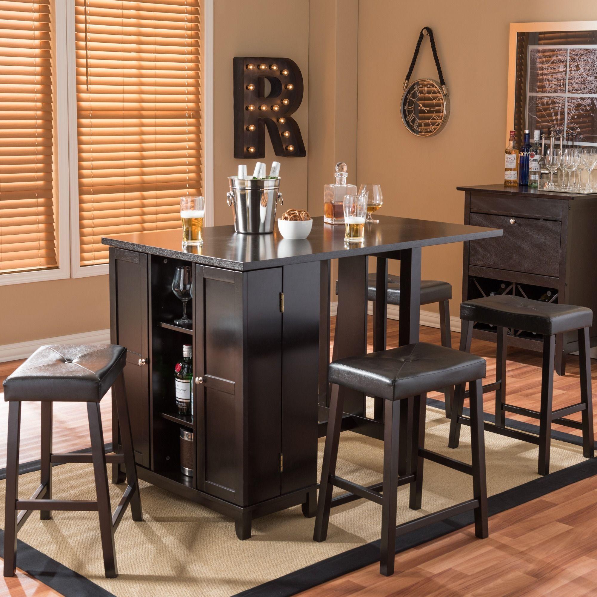 baxton studio aurora piece dark brown modern pub table set with  - baxton studio aurora piece dark brown modern pub table set with cabinetbase