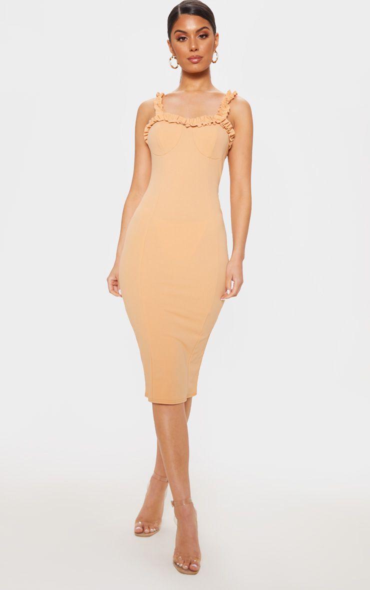 Tan Ruffle Trim Midi Dress Midi Dress Dress Stole Ruffle Trim [ 1180 x 740 Pixel ]