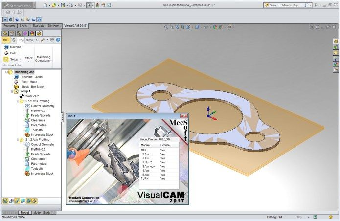 Working with MecSoft VisualCAM 2017 (v60507) for SolidWorks 2010