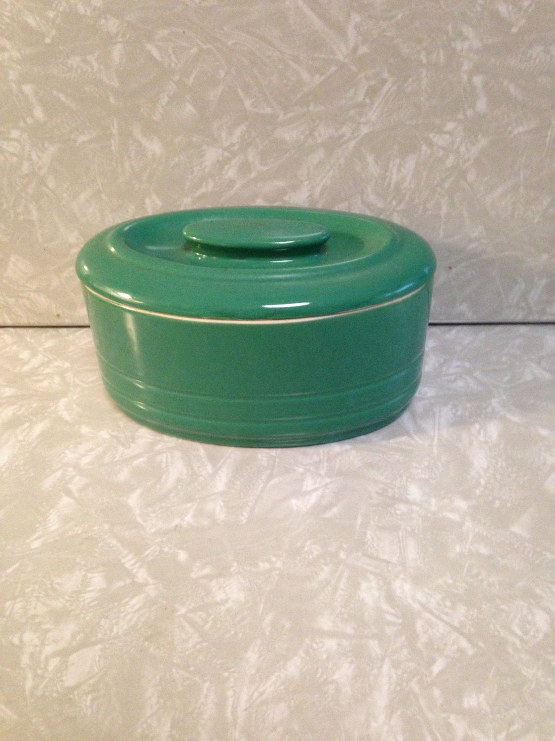 Hall China Made for Westinghouse  1940's Teal Green Covered Refrigerator Dish Bottom Stamped by ThePinkVintageRose on Etsy