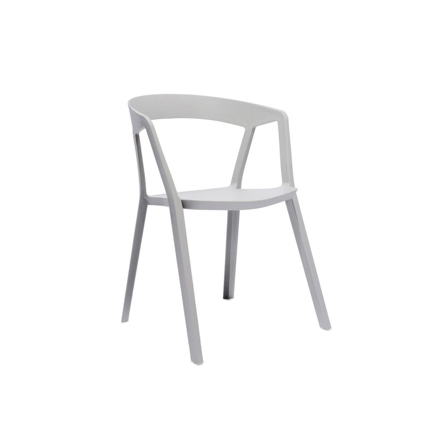 Milan Polypropylene Platinum Modern Stackable Dining Chair Set Of
