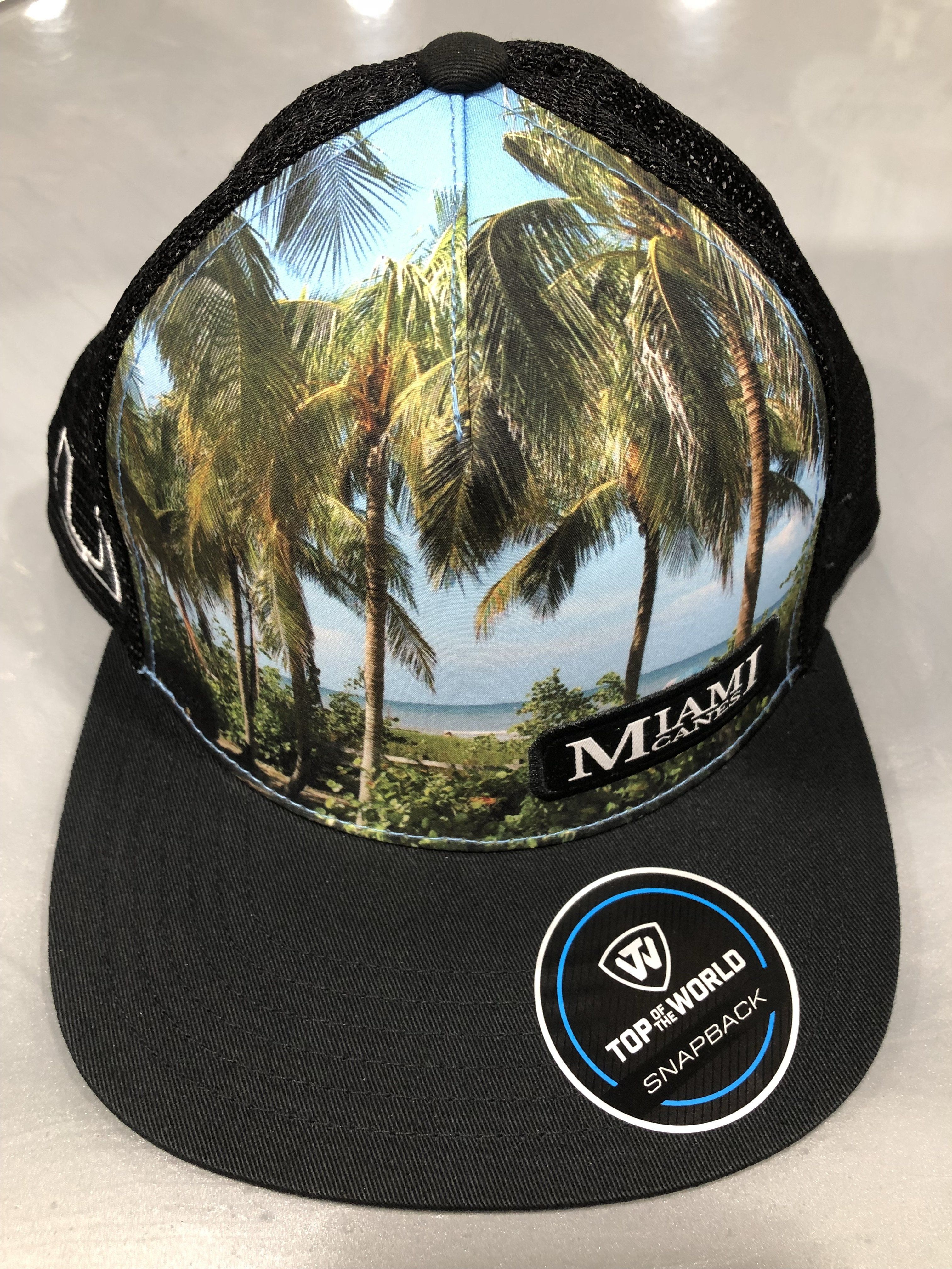 ff52b26664baa Miami Hurricanes Beach and Palm Scene Truckers Hat