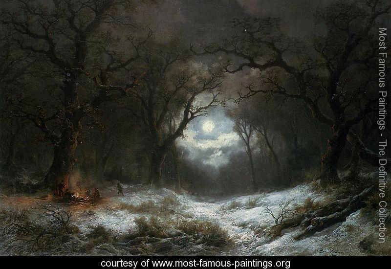 Moonlight Paintings By Famous Artists Google Search Winter Landscape Painting Moonlight Painting Winter Landscape