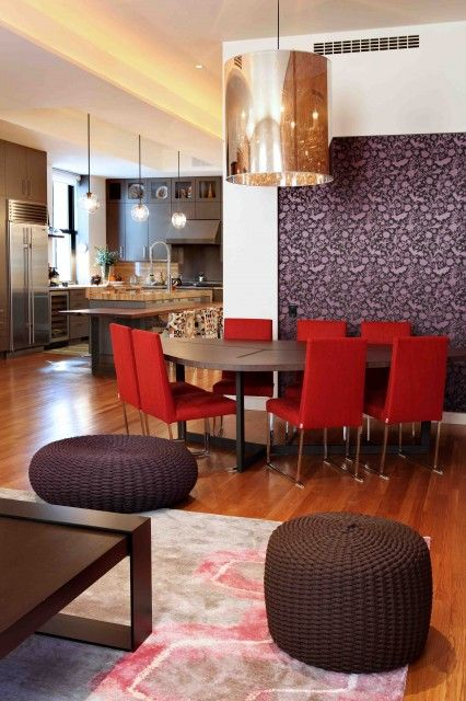 Dining Room: Simple Wood Table, Red Chairs, Plum Art/mural, Gold