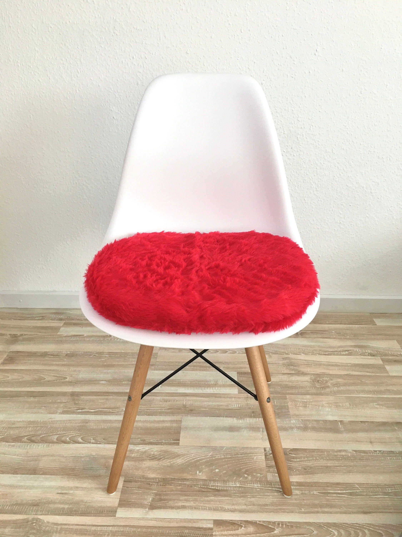 Sitzpolster In Rot Für Eames Chair Langhaarplüsch Etsy Eames Eames Stuhl Sitzkissen