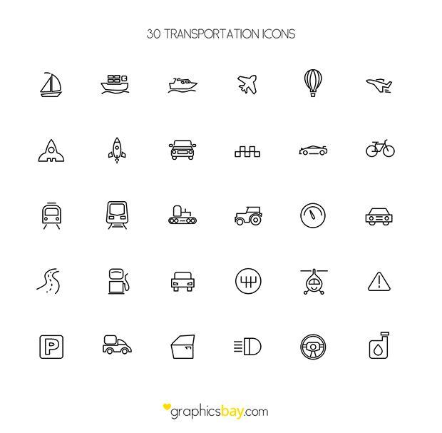 30 Freebie Transport Icons Http Dlpsd Com 30 Freebie Transport