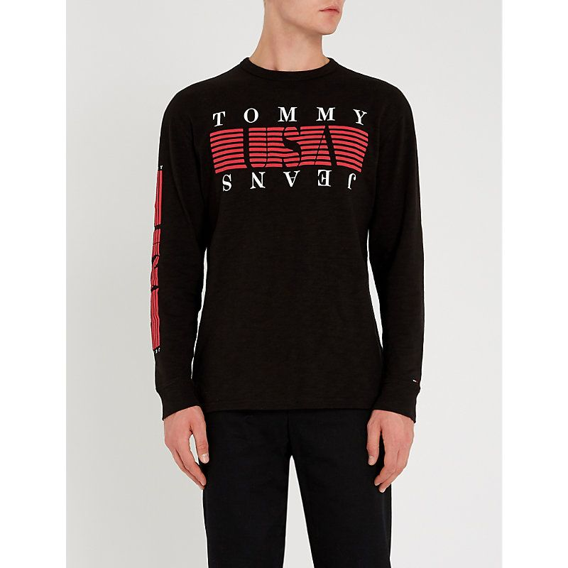 30268882 TOMMY JEANS STRIPED LOGO-PRINT COTTON TOP. #tommyjeans #cloth ...