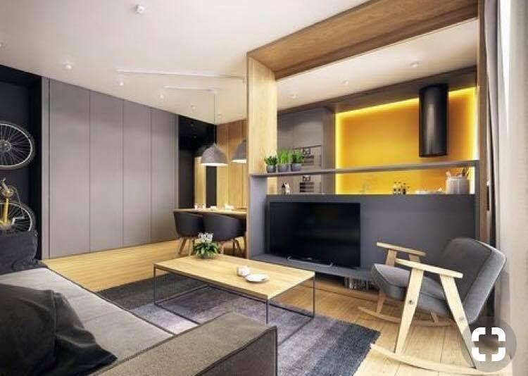 s paration avec espace tv entre salon et cuisine separations pinterest fauteuil bascule. Black Bedroom Furniture Sets. Home Design Ideas