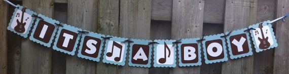 ITS A BOY Rock and Roll Theme Banner, Baby Shower ...