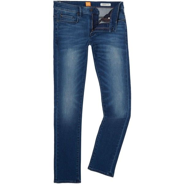 b9347761c0d Hugo Boss Orange 72 Skinny Fit Mid Wash Jeans (170 CAD) ❤ liked on ...