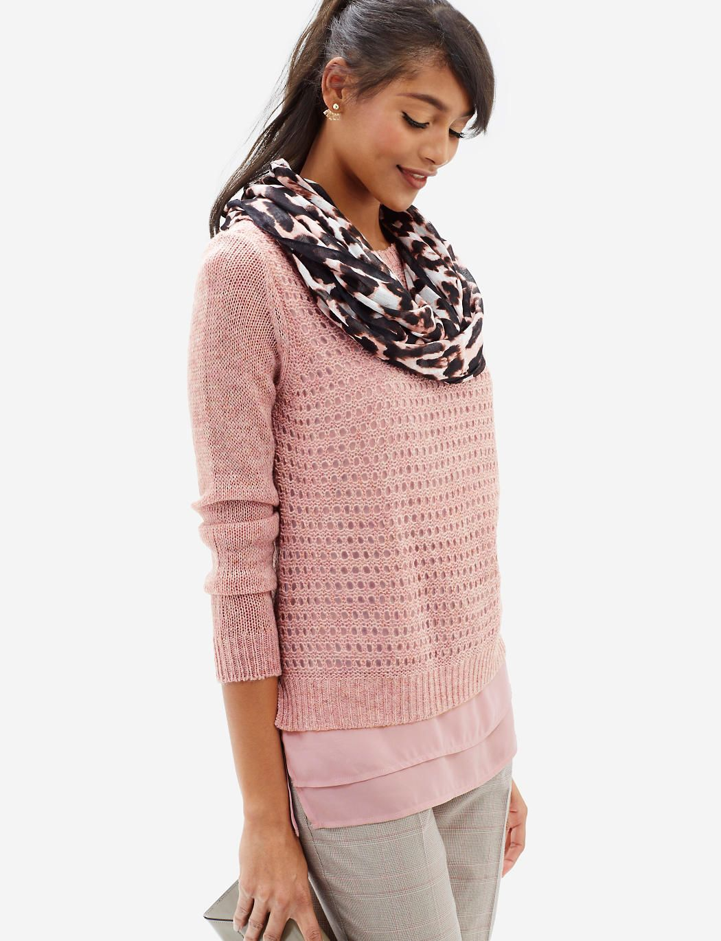Layered Open Stitch Sweater | Women's Sweaters & Cardigans | THE ...