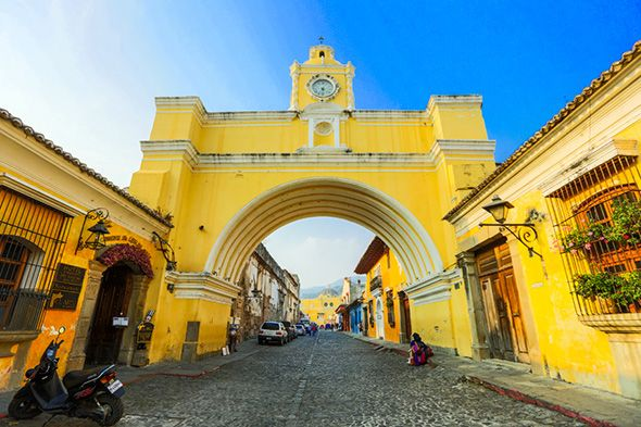 Bright Yellow Building In Antigua Guatemala