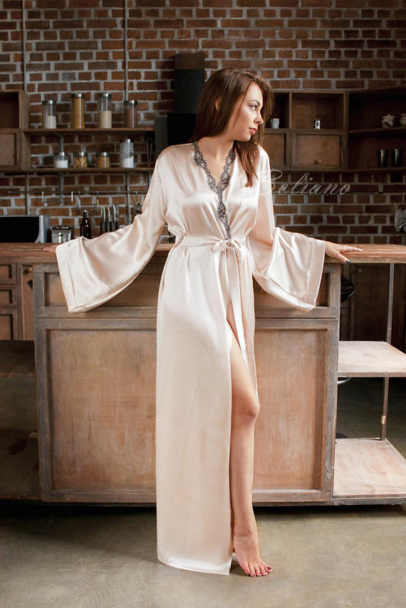 7761b161b Silk Robe  Silk Kimono Robe  Silk Kimono Long Sleeve  Silk Women Robe  Silk  Gown  Silk Bridal Gown