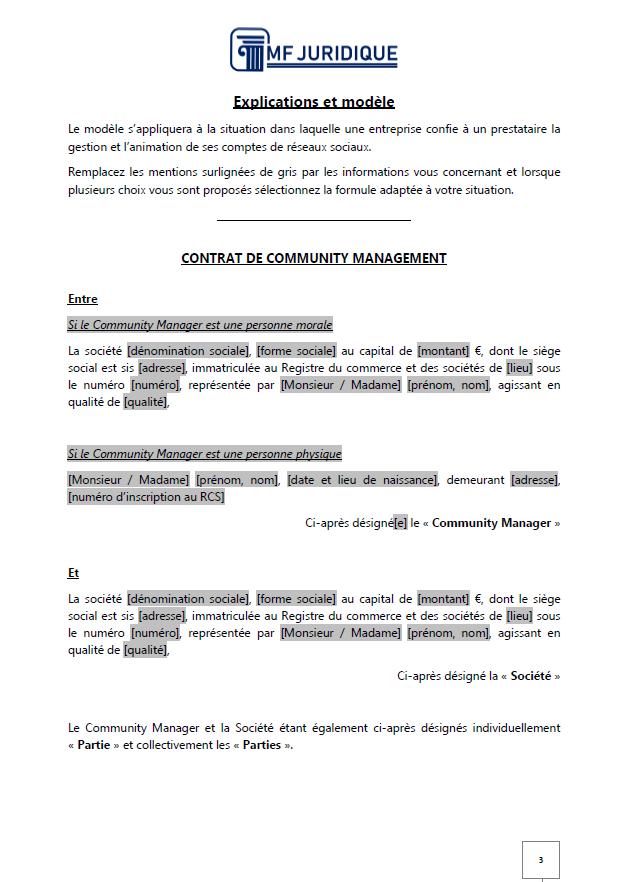 Modèle : Contrat de Community Management - MF JURIDIQUE : Modèles et Formalités Juridiques ...