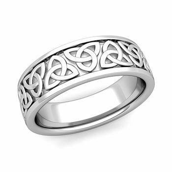 Trinity Celtic Knot Wedding Band In Gold Comfort Fit Ring This Showcases Classic And Timeless Design Set A