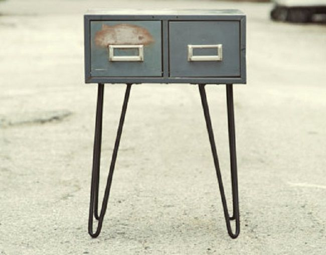 Hairpin Legs Metal File Cabinet Side Table Rust And Timber