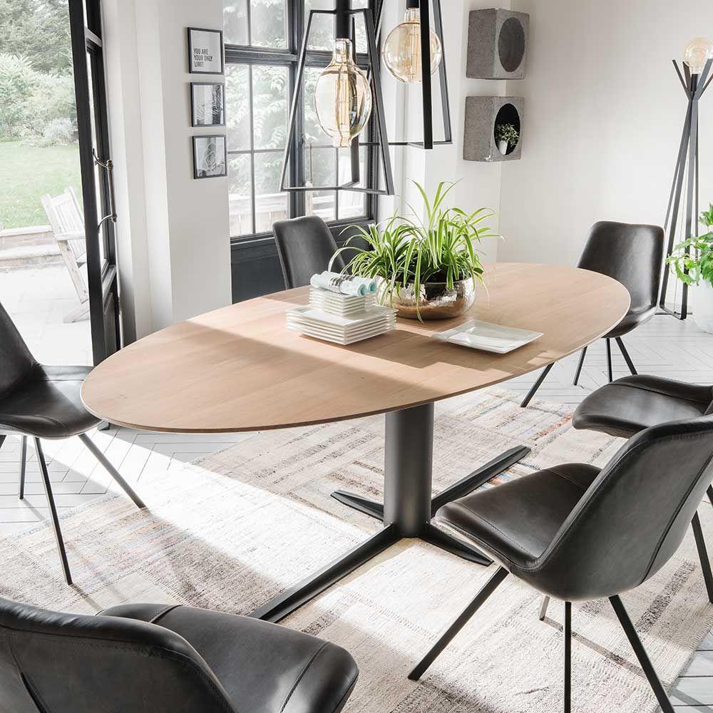 Esszimmertisch aus Eiche massiv oval Eisen Jetzt bestellen unter ...