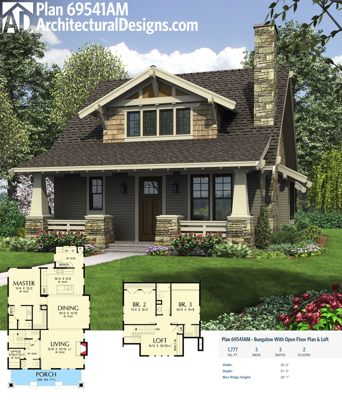 Plan 69541AM Bungalow With Open Floor Plan Loft Bungalow House