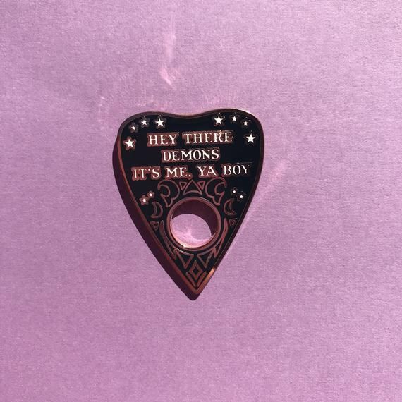 Black Variant Spooky Demon Rose Gold Planchette Ouija Enamel Pin Unsolved Inspired