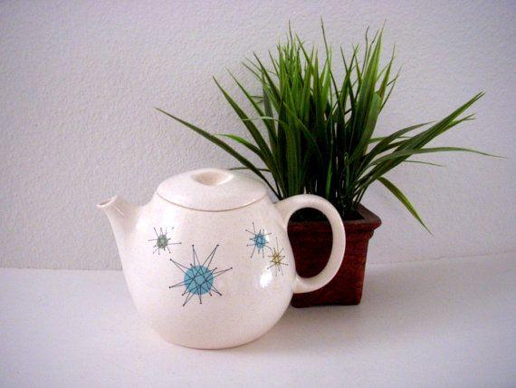 Vintage 50s Franciscan Ware Starburst Tea Pot - Atomic Sputnik Tea ...