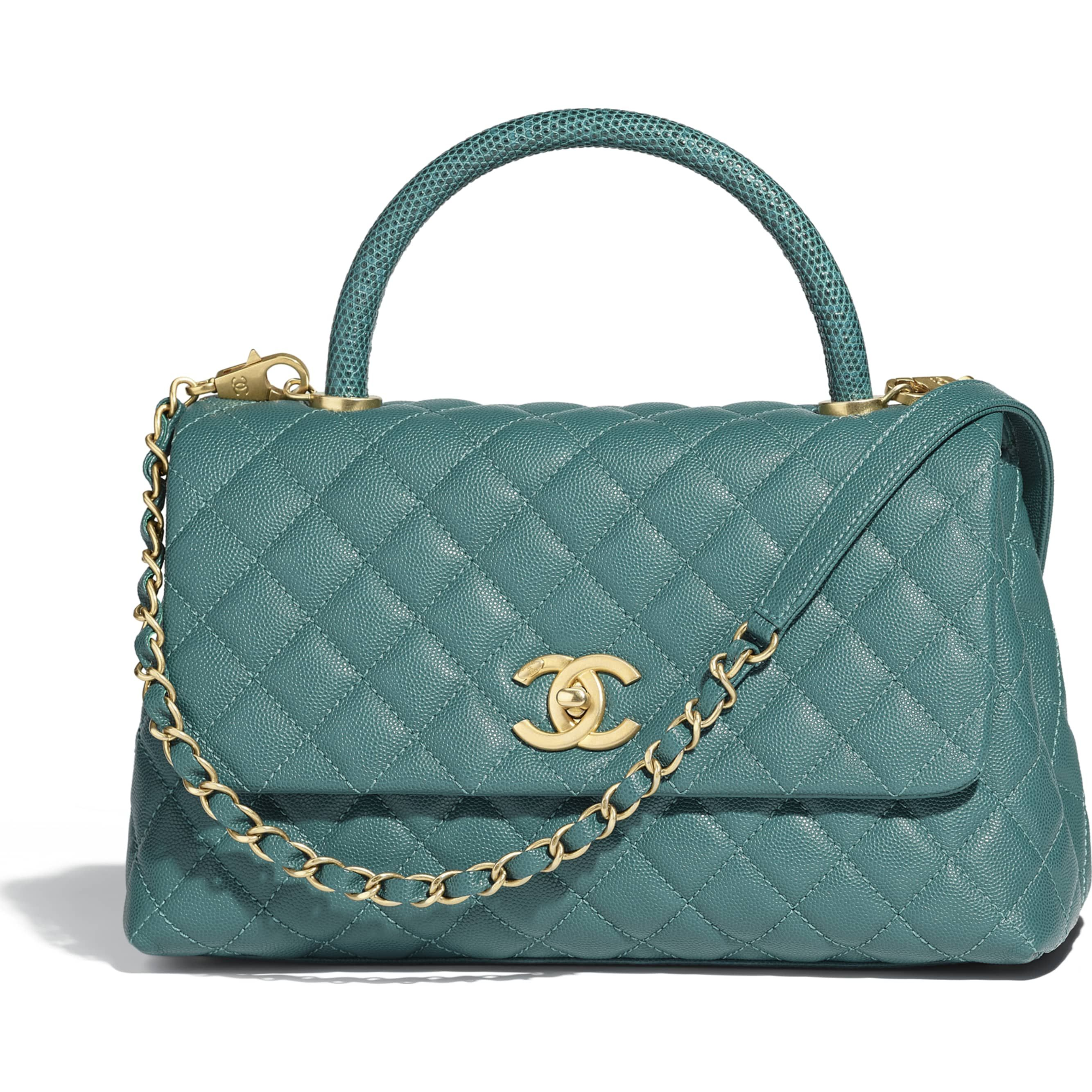 6ce8eb0c Calfskin, Lizard & Gold-Tone Metal Green Flap Bag with Top Handle ...
