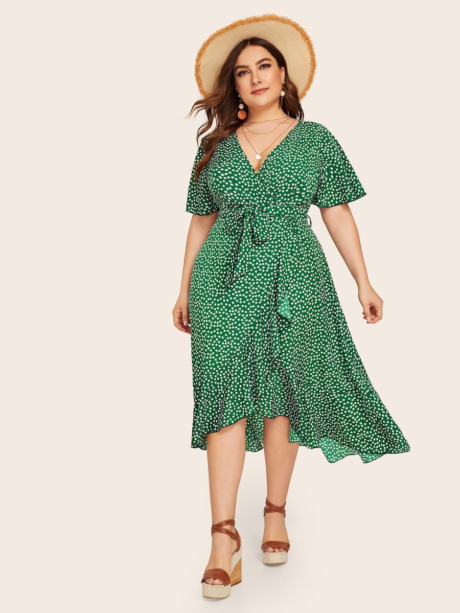 Plus Ditsy Floral Ruffle Trim Wrap Belted Dress Shein Plus Size Summer Dresses Affordable Plus Size Clothing Plus Size Outfits [ 1199 x 900 Pixel ]