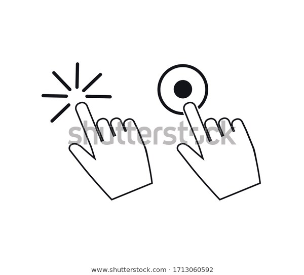 Clicking Finger Icon Hand Pointer On Stock Vector Royalty Free 1713060592 In 2020 Icon Set Vector Stock Vector Vector