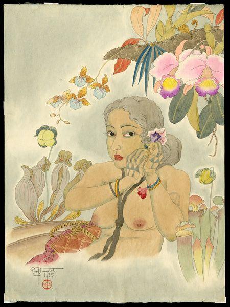 Jacoulet, Paul, 1902-1960  Belle de Tomil, Yap. Oeust Carolines   I have a new favorite artist