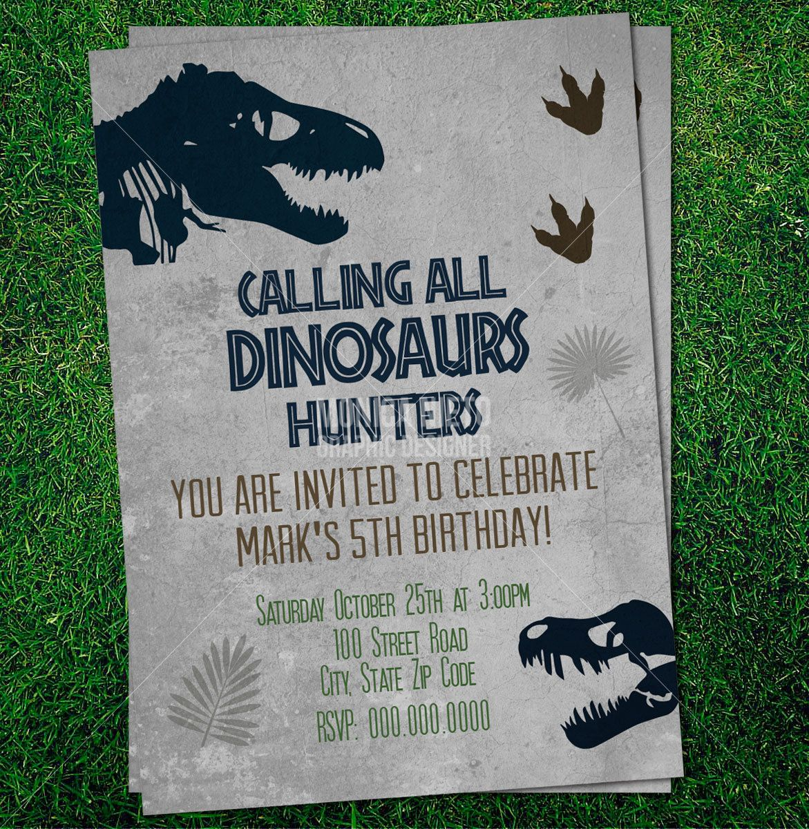 Custom Printable Jurassic Dinosaur Party Birthday Invitation – Free Printable Dinosaur Birthday Party Invitations