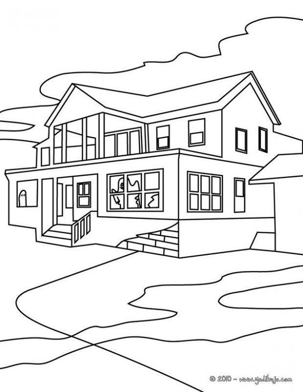 Dibujo De Una Casa Grande Para Colorear Casas Grandes Colores Dibujos Grandes